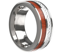 8mm - Unisex or Men's Wedding Tungsten Wedding Band. Wood Inlay with Inspired Meteorite. Flat Edged Tungsten Carbide Ring. Comfort Fit