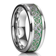 8mm - Unisex or Men's Tungsten Wedding Band. Men's  Celtic Wedding Band Silver Resin Inlay Green Celtic Knot Tungsten Carbide Ring