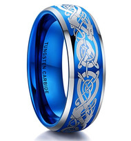 8mm - Unisex or Men's Tungsten Wedding Band Blue. Dragon Celtic Knot Design. Blue Domed Polished Tungsten Carbide Ring. Comfort Fit