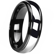 6mm - Unisex or Women's Tungsten Wedding Band. Black Duo Tone with Silver Dome Gunmetal Tungsten Carbide Wedding Ring.
