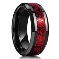 mens tungsten wedding bands red, mens tungsten ring black and red celtic