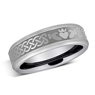 6mm - Unisex or Women's Irish Claddagh Tungsten Wedding Band. Silver Celtic Wedding Bands. Laser Etched Heart in Hands Celtic Knot Ring