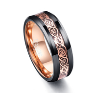 mens tungsten wedding bands rose gold celtic and black, mens tungsten ring black and gold celtic