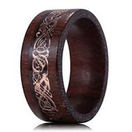 8mm - Unisex or Men's Sandalwood  Wedding Band. Celtic Wedding Band with Rose Gold Resin Inlay Celtic Knot