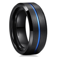8mm - Unisex or Men's Wedding Band. Black and Blue Lined Matte Finish Tungsten Carbide Ring . Beveled Edge