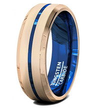 8mm - Unisex or Men's Tungsten Wedding Bands. Rose Gold with Blue Groove and Inner Blue. Tungsten Carbide High Polish Inside and Matte Finish Top.