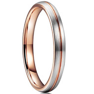 3mm - Unisex or Women's Tungsten Wedding Band Ring. Comfort Fit Matte Gray and Rose Gold Groove Round Domed Brushed Finish.  Wedding Bands
