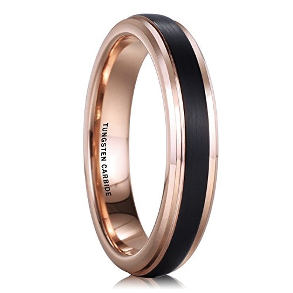 Wedding Band Womens Ring 4mm Polished Yellow Gold* Tungsten Carbide Unisex Band Wedding Ring 4mm Tungsten Ring