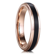 4mm - Unisex or Women's Tungsten Wedding Band Ring. Comfort Fit Rose Gold and Black Top Brushed Wedding Rings
