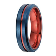 6mm - Unisex or Women's Tungsten Wedding Band. Blue with Red Groove. Matte Finish Tungsten Carbide Ring. Beveled Edge