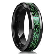 5mm - Unisex or Women's Tungsten Wedding Band. Black and Green Mens Celtic Wedding Band. Black Resin Inlay Hunter Green Celtic Knot Tungsten Carbide Ring