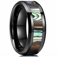 8mm - Unisex or Men's Tungsten Wedding Bands. Black Multi Color Rainbow Abalone Shell Inlay Ring (Organic colors)