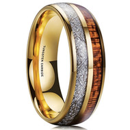 8mm - Unisex, Women's or Men's Wedding Tungsten Wedding Band. Gold Tungsten Band with Wood Inlay and Inspired Meteorite. Domed Tungsten Carbide Ring. Comfort Fit