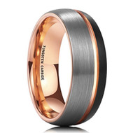 8mm - Unisex or Men's Tungsten Wedding Band. Domed Top Triple Tone Black, Gray and Rose Gold Tone Striped Pattern. Comfort Fit Tungsten Ring