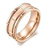 8mm - Unisex or Men's Tungsten Wedding Band. Rose Gold Tone Brick Pattern Tungsten Wedding Band Ring Comfort Fit