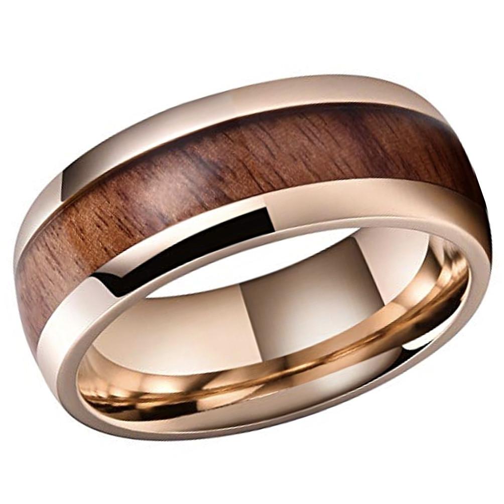 Unisex Or Men's Titanium Wedding Bands. Rose Gold