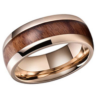 8mm - Unisex or Men's Titanium Wedding Bands. Rose Gold Ring with Dark Wood Inlay. Domed Top and Light Weight.