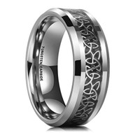 8mm - Unisex or Men's Tungsten Wedding Band. Irish Trinity Triquetra Ring. Black and Silver Tone Celtic Knot Carbon Fiber Inlay