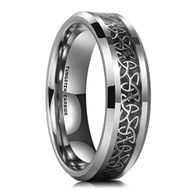 women or mens tungsten wedding bands celtic, unisex mens tungsten rings, celtic irish triquetra ring
