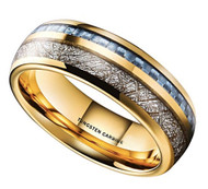 7mm - Unisex, Women's or Men's Wedding Tungsten Wedding Band. Gold Tungsten Band with Blue Carbon Fiber Inlay and Inspired Meteorite. Domed Tungsten Carbide Ring. Comfort Fit
