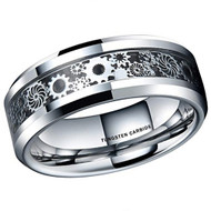 mens tungsten wedding bands silver gears, mens tungsten ring black silver gears