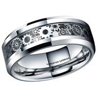 mens tungsten wedding bands silver gears, mens tungsten ring black silver gears