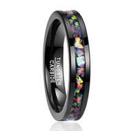 5mm - Unisex or Women's Tungsten Wedding Bands. Black Multi Color Rainbow Opal Inlay Ring (Organic colors)