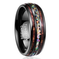 8mm - Unisex or Men's Tungsten Wedding Bands. Black Tone Multi Color Wood and Rainbow Opal Inlay Ring (Organic colors)