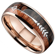 8mm - Unisex or Men's Tungsten Wedding Bands. Rose Gold Cupid's Arrow over Wood Inlay. Tungsten Ring with High Polish Dark Wood Inlay. Domed Top Ring.