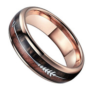 6mm - Unisex or Women's Tungsten Wedding Bands. Rose Gold Cupid's Arrow over Wood Inlay. Tungsten Ring with High Polish Dark Wood Inlay. Domed Top Ring.