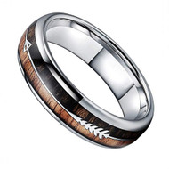 6mm - Unisex or Women's Tungsten Wedding Bands. Silver Tone Cupid's Arrow over Wood Inlay. Tungsten Ring with High Polish Dark Wood Inlay. Domed Top Ring.