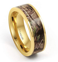 8mm - Unisex or Men's Titanium Wedding Band. Gold Tone with Brown, Green and Tan Camouflage Carbon Fiber Inlay