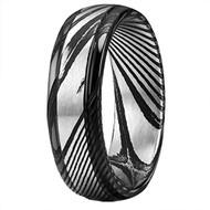 6mm - Unisex or Men's or Women's Damascus Steel Ring Wedding Band. Black and Silver. Domed Top and Light Weight.