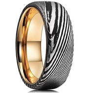 8mm - Unisex or Men's Damascus Steel Ring Wedding Band. Black and Silver Domed Top with Rose Gold inside band.