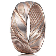8mm - Unisex or Men's Damascus Steel Ring Wedding Band. Rose Gold and Silver Tone Grooved with Domed Top and Light Weight.