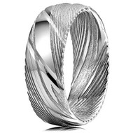8mm - Unisex or Men's Damascus Steel Ring Wedding Band. Silver Grooved with Domed Top and Light Weight.