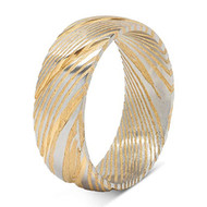8mm - Unisex or Men's Damascus Steel Ring Wedding Band. Yellow Gold and Silver Tone Grooved with Domed Top and Light Weight.