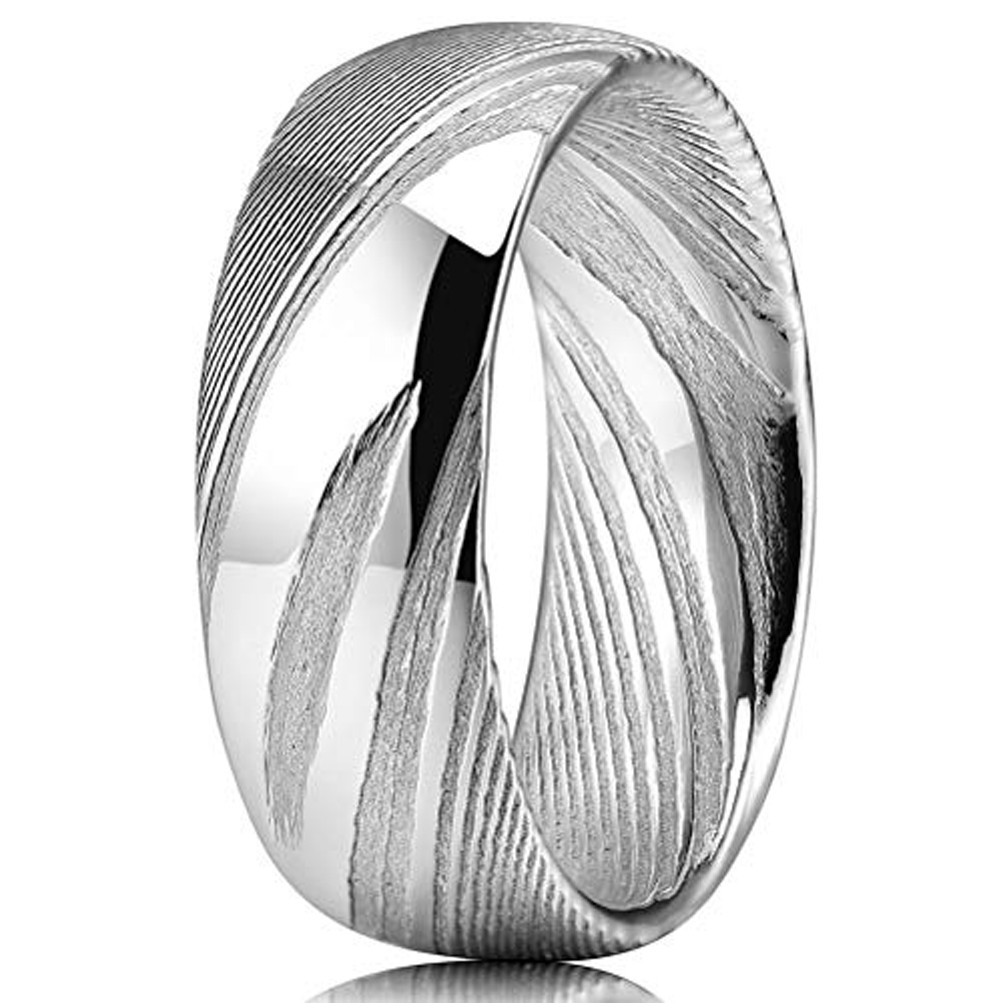8mm Men/'s Silver Damascus Steel w// Red Domed Wedding Band Ring 9-13