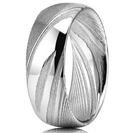 8mm - Unisex or Men's Damascus Steel Ring Wedding Band. Silver Polished and Matte with Domed Top and Light Weight.