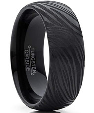 8mm - Unisex or Men's Tungsten Wedding Band. Black Tone with Faux Damascus Inspired Stripe Design. Comfort Fit.