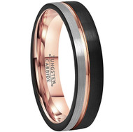 6mm - Unisex or Women's Tungsten Wedding Band. Triple Tone Black, Gray and Rose Gold Tone Striped Pattern. Tungsten Ring