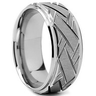 9mm - Unisex or Men's Silver Tungsten Carbide Weave Grooved Pattern Wedding Ring Band