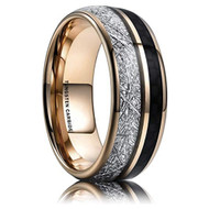 8mm - Unisex, Women's or Men's Wedding Tungsten Wedding Band. Rose Gold Tungsten Band with Black Carbon Fiber Inlay and Inspired Meteorite. Domed Tungsten Carbide Ring. Comfort Fit