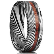 8mm -  Unisex or Men's Real Damascus Steel Silver and Black Ebony Band with Real Wood Inlay Wedding Ring - Flat Style
