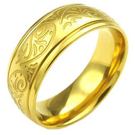 7mm - Unisex or Women's Yellow Gold Tone Stainless Steel Ring Band Engraved Flower Vine / Floral Design Wedding Band Ring