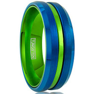 8mm - Unisex or Men's Tungsten Wedding Band. Blue with Green Groove. Matte Finish Tungsten Carbide Ring. Beveled Edge