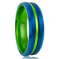 6mm - Unisex or Women's Tungsten Wedding Band. Blue with Green Groove. Matte Finish Tungsten Carbide Ring. Beveled Edge