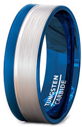 8mm - Unisex or Men's Blue and Gray Duo Tone Tungsten Wedding Band. Pipe Cut, Flat Edges and Comfort Fit