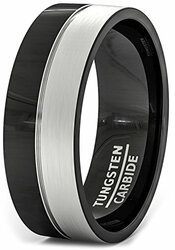 8mm - Unisex or Men's Black and Gray Duo Tone Tungsten Wedding Band. Pipe Cut, Flat Edges and Comfort Fit