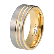 8mm - Unisex or Men's Yellow Gold and Silver Tungsten Wedding Band Ring Double Offset Lines / Grooves. Pipe Cut Style and Comfort Fit